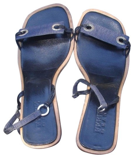 Gianfranco Ferre Jeans Denim Navy Blue Leather Sandals, 8 or 38