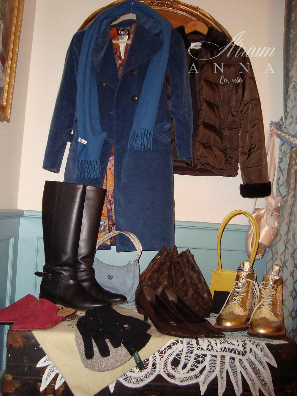 D&G coat, Iceberg down jacket, Prada small purse, Furla clutch purse, LV bucket bag, Blumarine scarfs