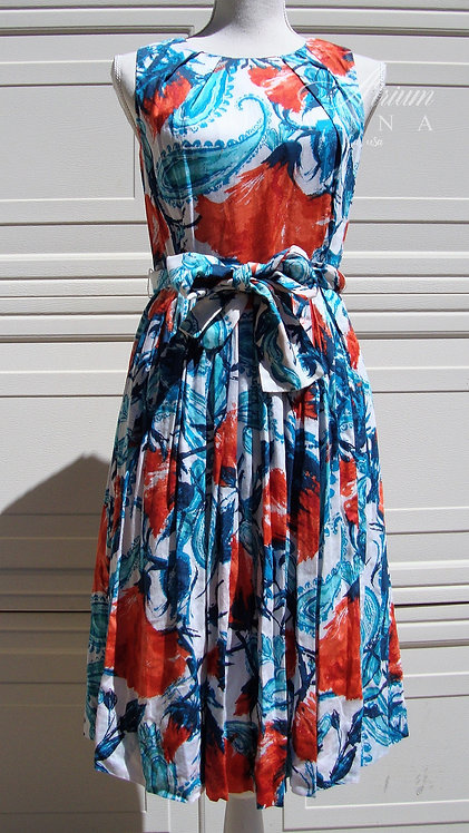 Talbots Printed Cotton Vintage-Inspired A-Line Sleeveless Dress, 4