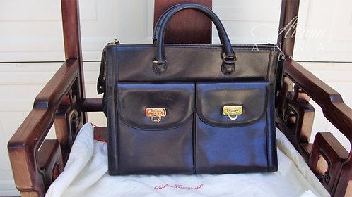 Salvatore Ferragamo Black Vintage 70s Leather Doctors Bag Tote