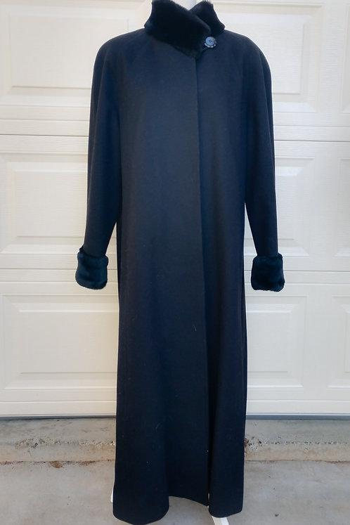 Jones New York Black Wool Maxi Coat