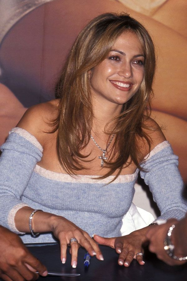 Jennifer Lopez in square shaped nails in the 90s