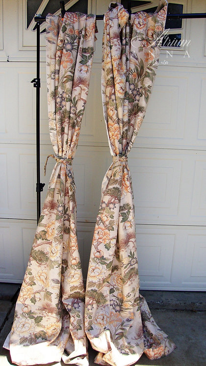 Floral Printed Orange Tones Drapes, 2 Panels with Tassels