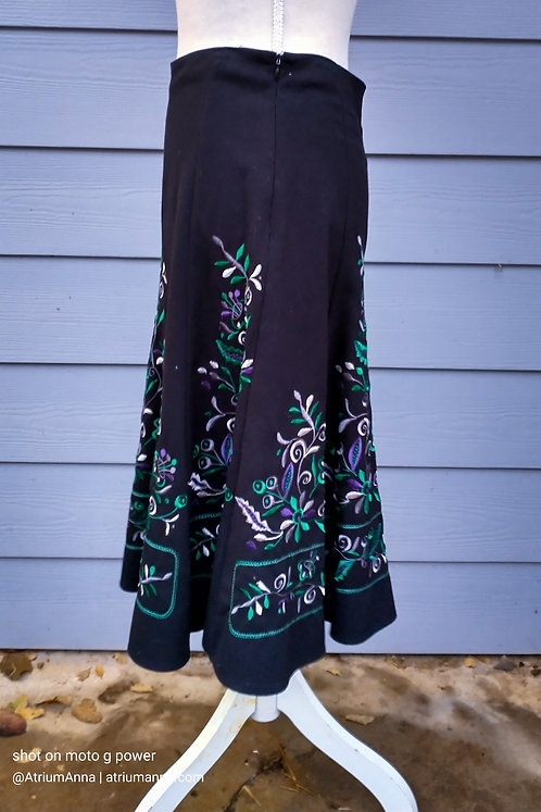 Sunny Leigh Black A-line Embroidered Ethnic Skirt, 4P