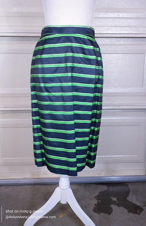 Michael Kors by Neiman Marcus Vtg 90s High-end Silk Striped Pencil Skirt