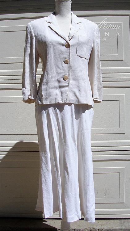Max Mara Pure Linen Vintage 90s Beige Skirt Suite, Skirt+Blazer, IT 42