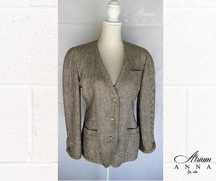 Alan Austin Silk and Wool Elegant Houndstooth Blazer Jacket