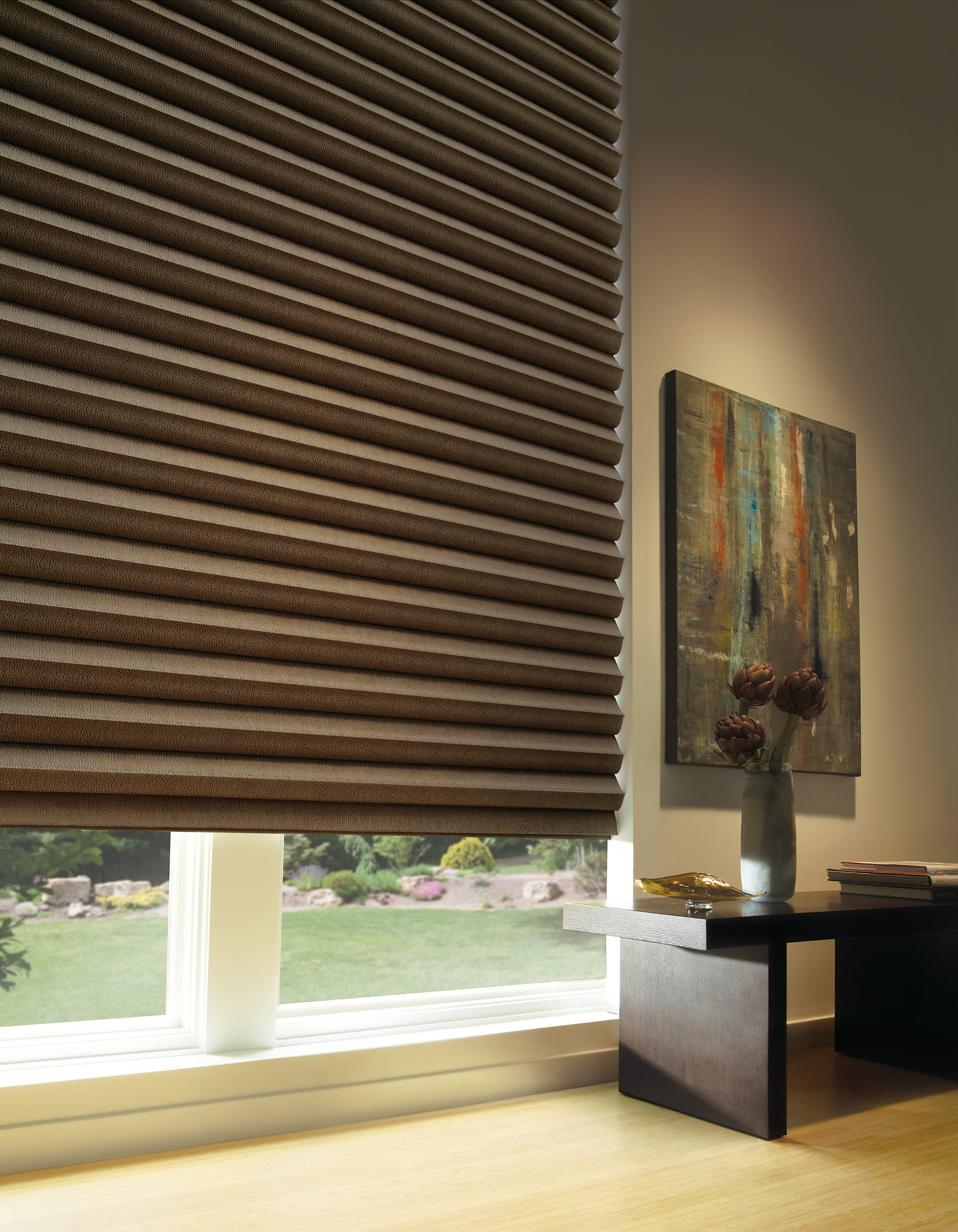 room motorized blinds lower home shades roller treatments motorization img pirouette custom of gallery family window