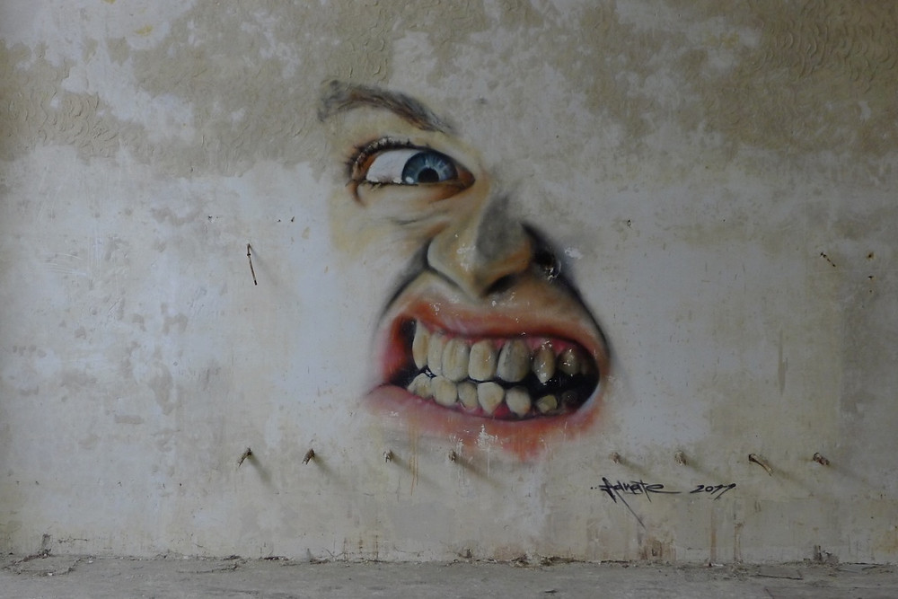 Peter Cusack | Edgework Journal, Face painted on wall at Vogelsang