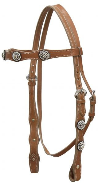 Full size Leather Headstall with Clear Rhinestone Conchos
