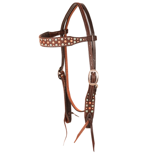 Turquoise + Copper Dots Headstall