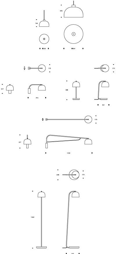 Grant valgustite kollektsiooni piktogrammid vajalike mõõtudega.