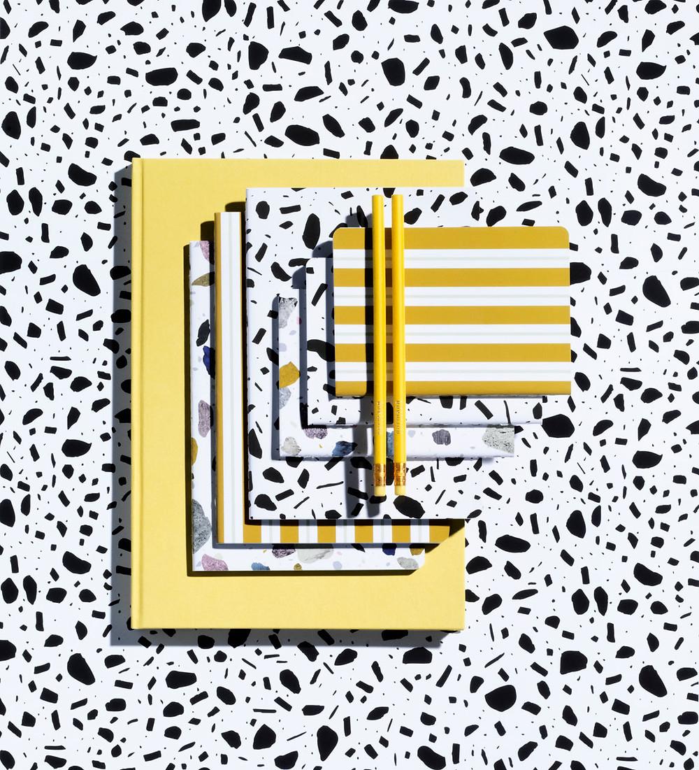DAILY FICTION kontoritarvete kollektsioon sisaldab erinevaid põneva disainiga kirjatarbeid.