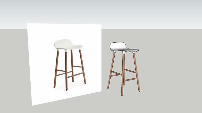 Klassikalisse kollektsiooni kuuluv FORM baaritool 3D mudelis nii foto kui joonistusena.