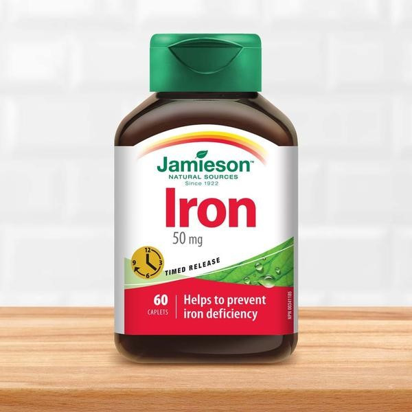Figure #4: Iron supplements. Image Source: https://www.jamiesonvitamins.com/products/iron-50-mg-timed-release