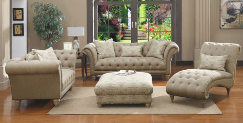 He Stylish Tufted Hutton Upholstery Collection Will Add Cl To Any Room The Off White Linen Look Fabric Cover Has Generous On Tufting And Silver