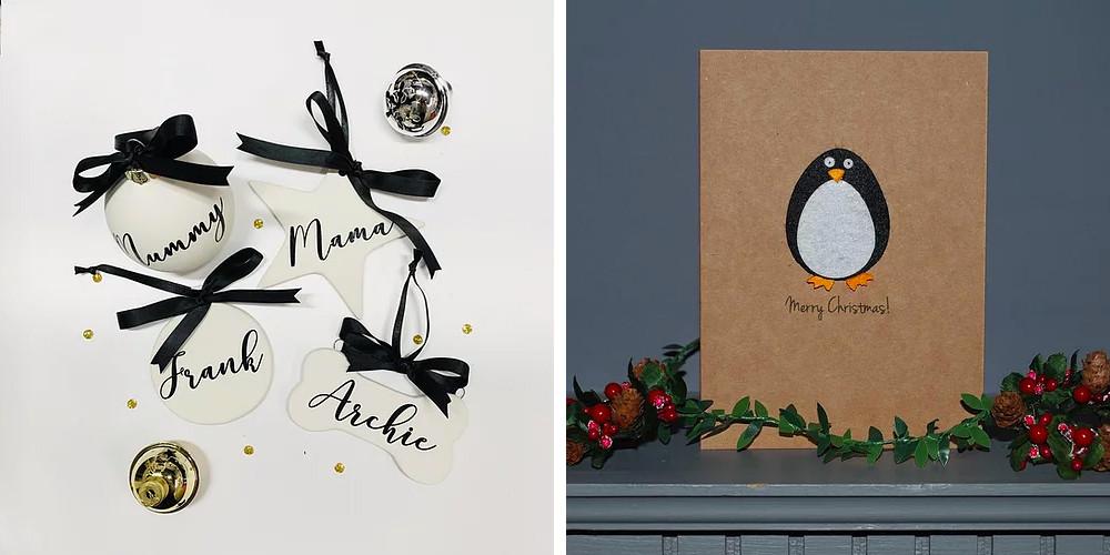Lubelu Christmas personalised cards baubles