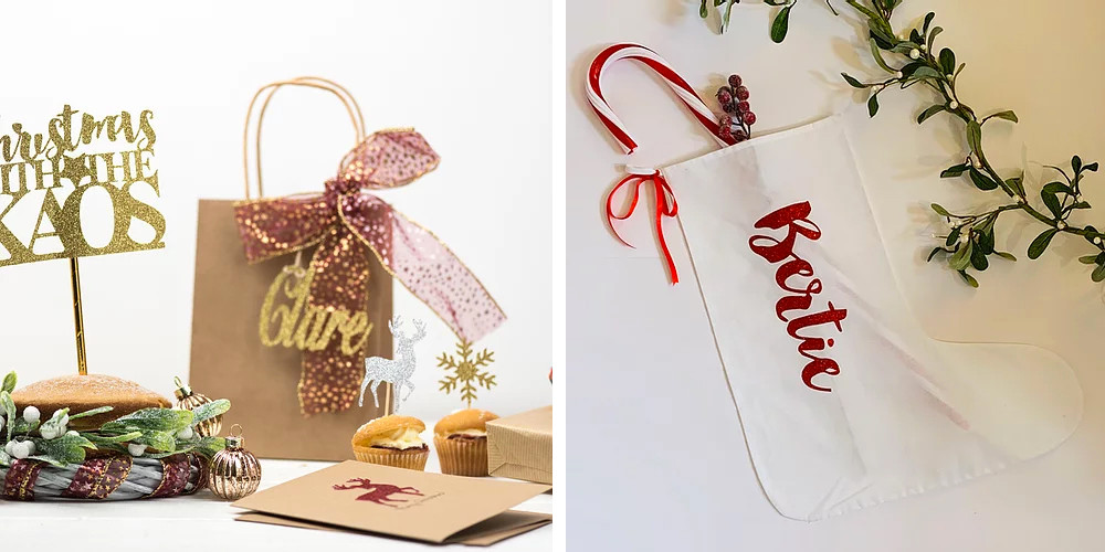 Lubelu Christmas personalised stocking table decorations