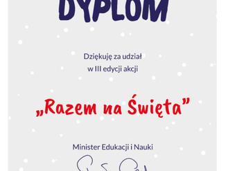"""Podziękowanie za udział w III edycji akcji """"Razem na Święta""""."""
