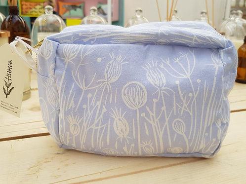 Meadow Lino Cut Design Cotton Makeup Bag in Blue
