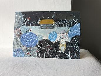 Cottage & Owl Christmas Card