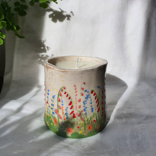 Hand Built Ceramic Pot hand painted with Foxgloves filled with Soy Wax Candle