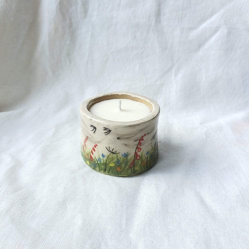 Small Hand Built Ceramic Pot Meadow filled with Soy Wax Candle