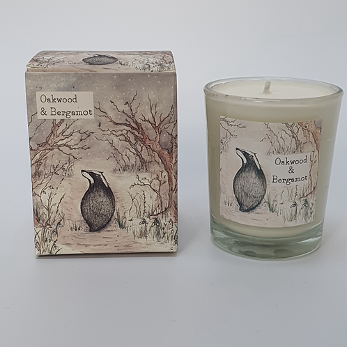 Oakwood & Bergamot in a 9cl Candle with a pretty illustrated box