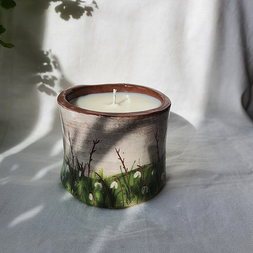 Hand Built Ceramic Pot hand painted with Snow Drops filled with Soy Wax Candle