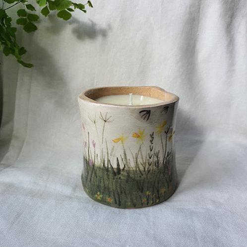 Hand Built Ceramic Pot painted with Spring Flowers filled with Soy Wax Candle