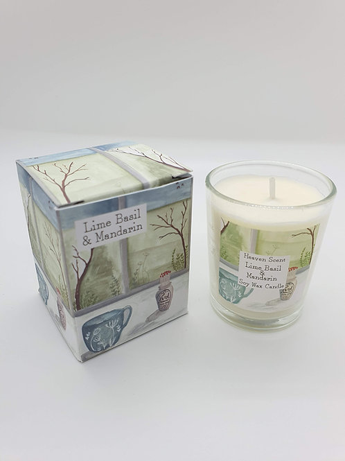 Lime, Basil & Mandarin 9cl Soy Wax Candle in an Illustrated Box