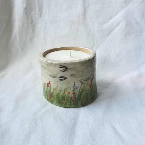 Hand Built Ceramic Pot painted with Summer Flowers filled with Soy Wax Candle