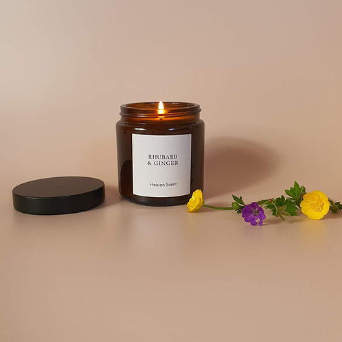 Rhubarb & Ginger Candle in Brown Pharmacy Pot