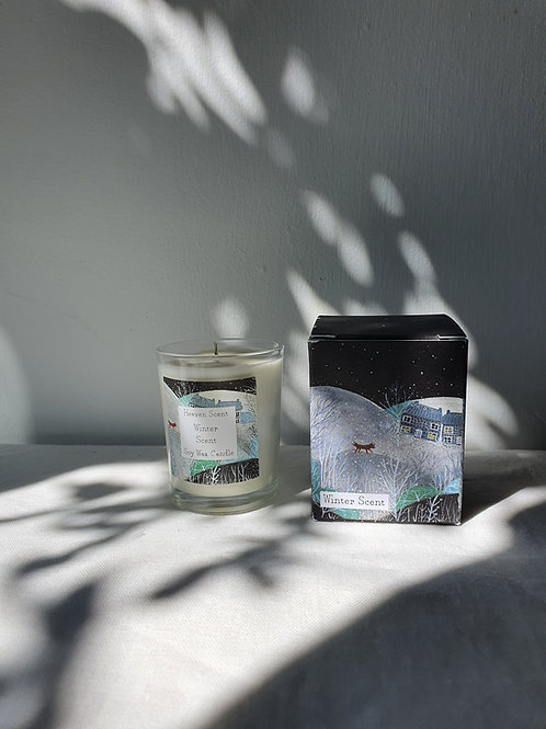 Winter Scent 9cl Soy Wax Candle in pretty illustrated box