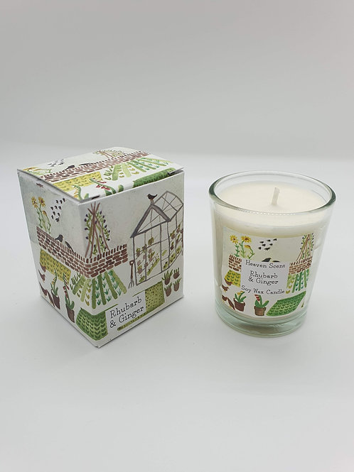 Rhubarb & Ginger 9cl Soy Wax Candle in an illustrated box