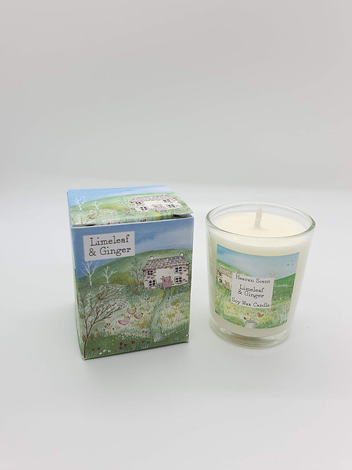 Limeleaf & Ginger 9cl Soy Wax Candle in an illustrated box