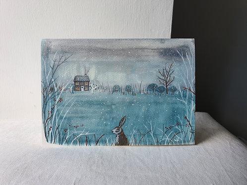 Christmas Card Cottage & Rabbit
