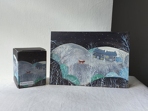 Christmas Card illustration Cottage & Fox