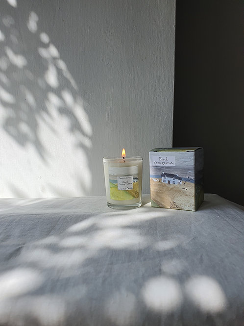 Black Pomegranate 9cl Soy Wax Candle in an illustrated box
