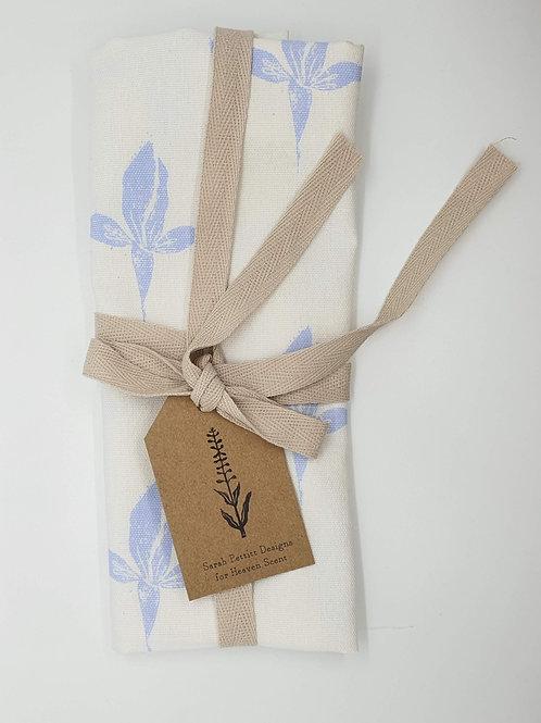 Cotton Tea Towel with Iris print