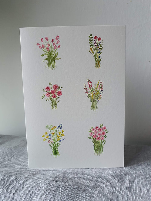 Many Bunches of Flowers Greeting Card (blank inside)