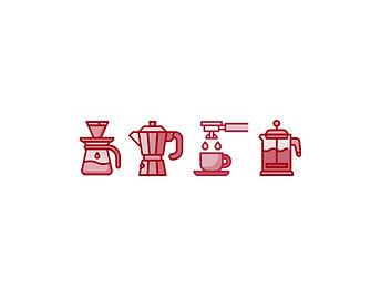 iconos tipos de cafeteras