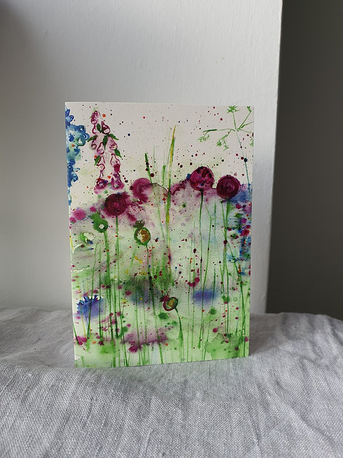 Water Colour Thistles Greeting Card (blank inside)