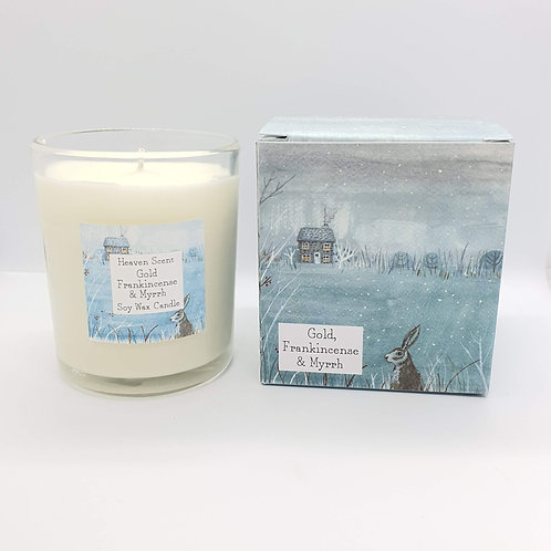 Gold Frankincense & Myrrh 20cl Soy Wax Candle in Pretty Illustrated Box