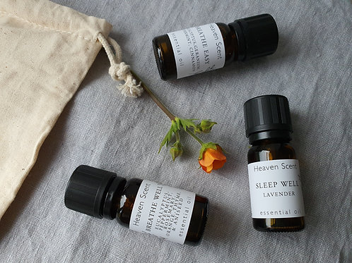 Essential Oils package including cotton pouch