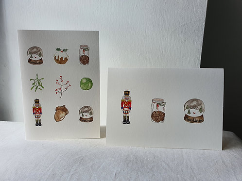 Christmas Illustrations of Mistletoe, Sprout, Acorn etc