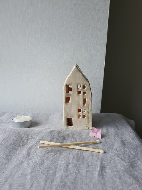 Hand Made Ceramic Tealight House with plant wax tealight