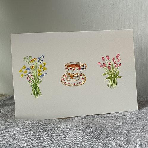 Flowers and Tea Cup Illustration Card blank inside Kraft Envelope