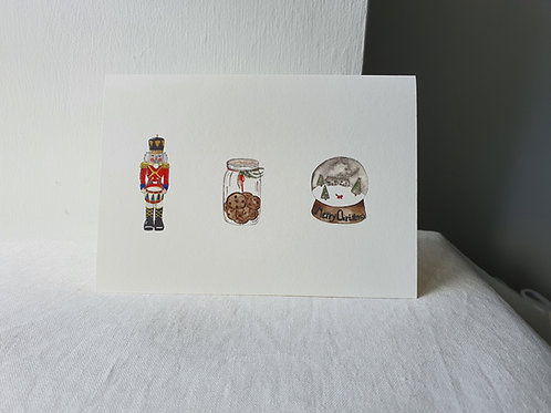 Christmas Illustrations of Snow Globe,  Cookie Jar and Nutcracker