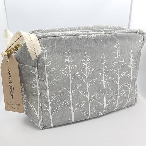 Foxglove Linocut Design in Grey, Cotton Makeup Bag